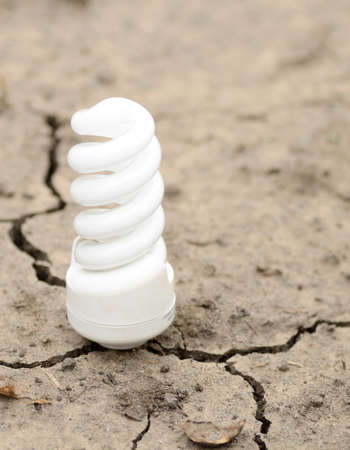 energy-saving lamp in a cracked ground