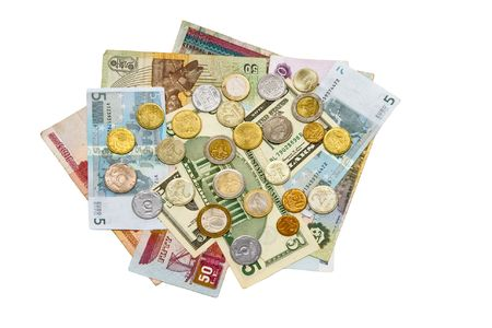 International notes and coins isolated photo