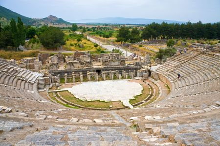 Roman theatre in legendary Ephesus, Turkey photo