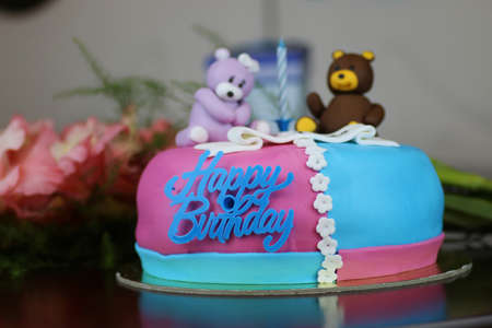 cake plate: birthday cake with bears and flowers
