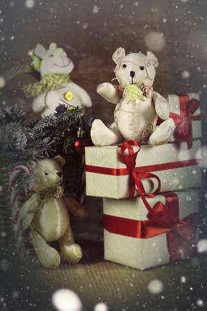 objects: christmas objects and decorative background