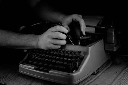 hemingway: photo of black and white retro typewriter