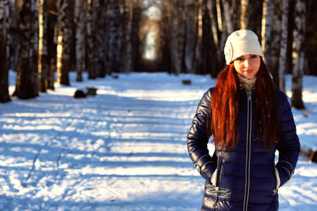winter woman: woman in winter outdoor