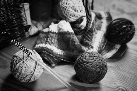 ball of wool: hobby black and white ball wool concept of hobby