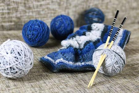 ball of wool: ball of wool and knitting needles Stock Photo