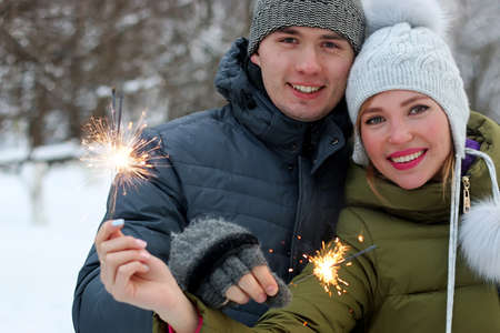 couple winter: couple in winter Stock Photo
