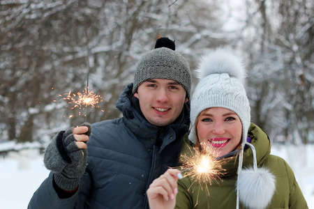 couple winter: couple in  winter