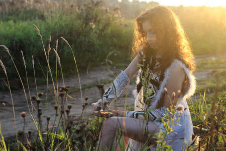 girl clothes amazon outdoor in nature sunset
