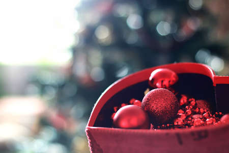 box with ball toy for christmas decor Stock Photo