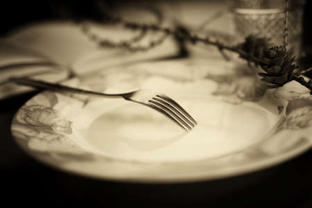 fork in empty plate black and white