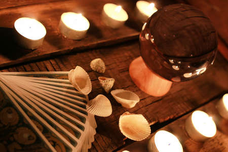 divination: future teller candle and divination tarot cards