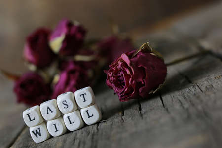 concept of last will and testament letters on a table