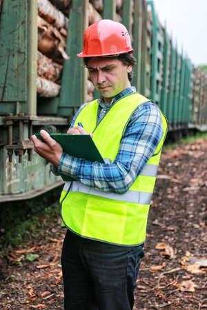 counts: Worker in a helmet counts wood lumber