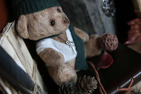 retro toy bear and old books with feather letter Stock Photo