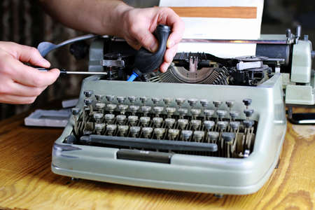 hemingway: detailed largest survey of small parts of the old English typewriter Stock Photo