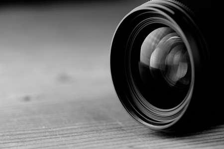 camara de cine: reflexiones macro en la lente negro foto de vidrio y el bokeh