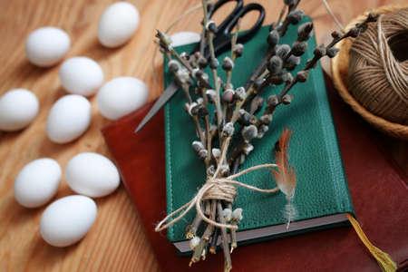 적합: Spring background with objects on a wooden is suitable for the celebration of Easter