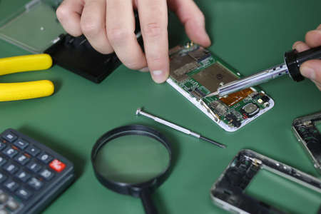 Electronics repair fine on the desktop in the studio Stock Photo