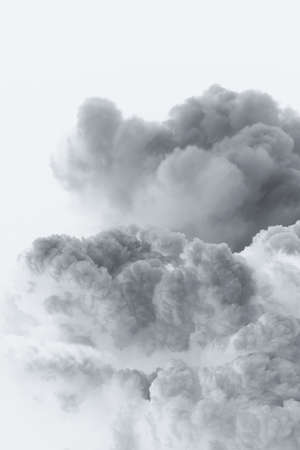 gray and white cloud from the explosion of a large unidentified creatures Stock Photo
