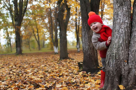 kid hidden behind the tree  in autumn park