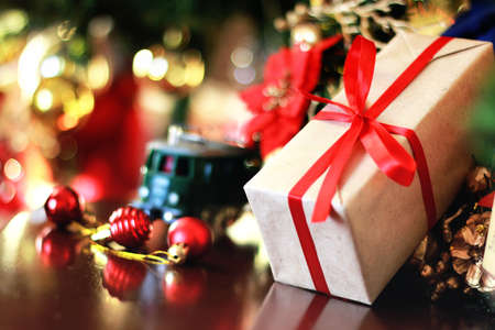 gift with christmas ball and train