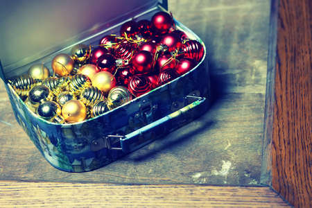 golden section: Multicolored Christmas ornaments made by dressing the Christmas tree for the new year Stock Photo