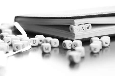 female judge: small white wooden blocks made up the word in the table