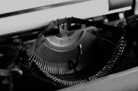 old english: detailed largest survey of small parts of the old English typewriter Stock Photo