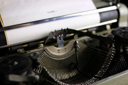 detailed largest survey of small parts of the old English typewriter Stock Photo