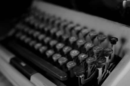hemingway: detailed largest survey of small parts of the old English typewriter Stock Photo