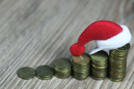 profit celebration: stack of coins new year