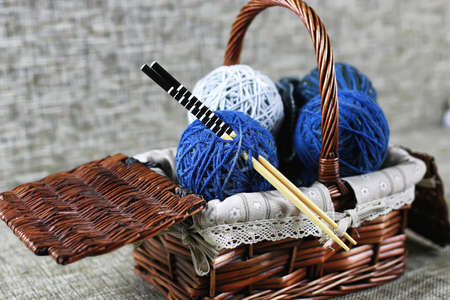 woolen threads of different colors for knitting scarves for the grandchildren Stock Photo