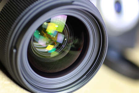 macro reflections in the glass and bokeh photo black lens Stock Photo