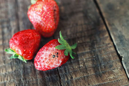 uneatable: rotten strawberries on a wooden background Stock Photo