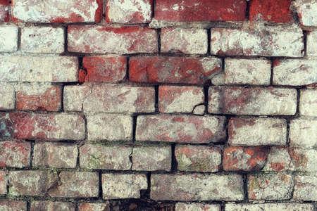 whitewash: background of red shabby stained whitewash brick shabby weather Stock Photo