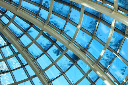 combinations: background dome shopping center metal combinations and glass modern building Stock Photo