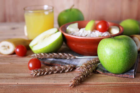 wholesome: morning a healthy and wholesome breakfast to replenish reserves of energy for the whole day Stock Photo