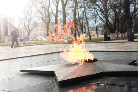 pyatigorsk: Soviet Army Monument burning flame of eternal fire in honor of the victory in World War II