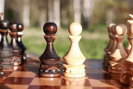 chessman: sun glare on the figures in the figures chess board in the park spring evening Stock Photo
