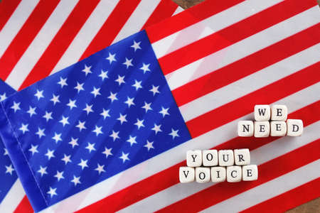choise: election simbol on usa flag many cubes with letter