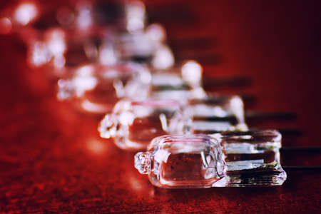 lighting fixtures: lighting fixtures small transparent diodes on brown table top