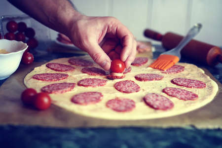 toppings: Pizza toppings macro prepare Stock Photo