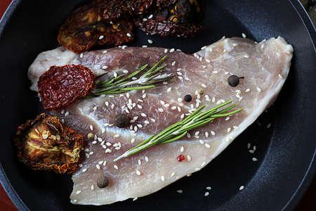 steak in a frying pan Stock Photo