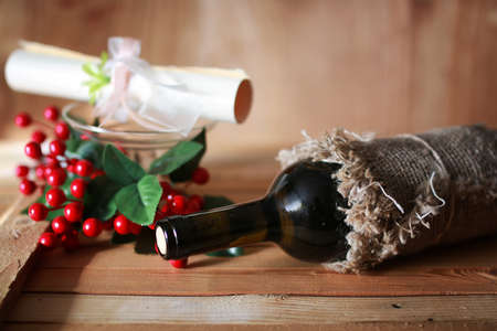 wine glasses invitation wooden background