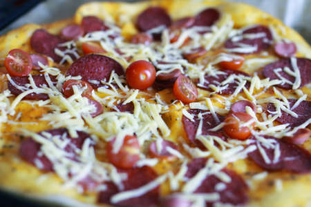 toppings: macro pizza toppings Stock Photo