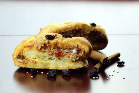 cin: Puff pastry cinnamon raisin Stock Photo