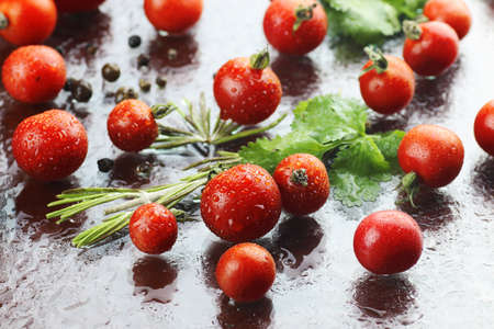 water alphabet: Water drops green and tomatoes