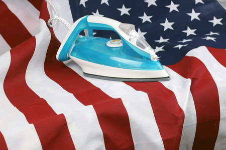 ironed Crumpled US flag Stock Photo
