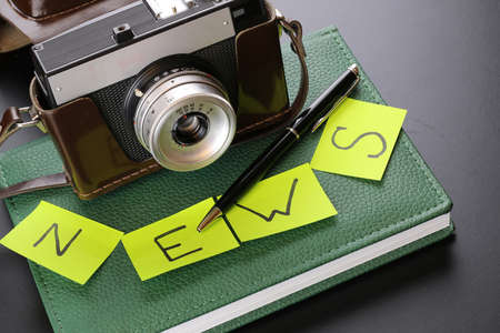 Instruments employee news agency the mid-twentieth century, retro camera and typewriter Stock Photo