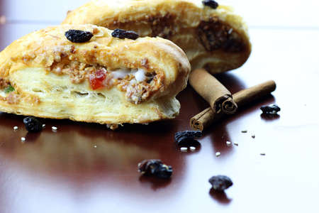 fresh flavorful baked puff pastry with a delicate sweet fondant and raisin